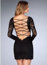 La Femme 25134 Long Sleeve Lace Dress