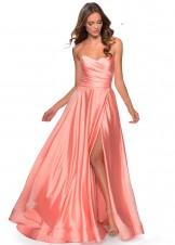 La Femme 28608 Peach Strapless Satin Gown
