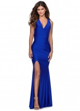 La Femme 28677 Ruched Jersey Evening Dress