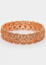Peach Crystal Rose Gold Metal Stretch Bracelet