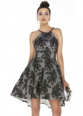 Alyce 3009 Black & Silver Chrome Lace Party Dress