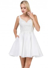 Dancing Queen 3036 V-Neck Lace Satin Short Dress