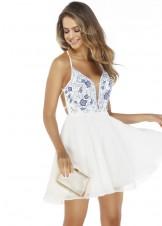 Alyce 3042 Floral Emboidered White & Blue Short Dress