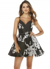 Alyce 3081 Black Floral Print Dress