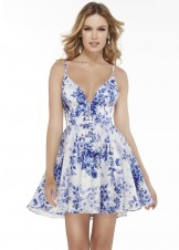 Alyce 3091 Short Blue Floral Print Dress