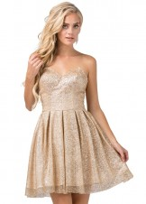 Dancing Queen 3106 Gold Glitter Short Dress