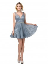 Dancing Queen 3126 Steel Blue Glitter Party Dress