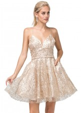 Dancing Queen 3154 Sparkling Glitter Party Dress