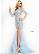 Jovani 37580 Beaded Illusion Feather Gown