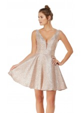 Alyce 3782 Shimmery Plunge A-Line Dress