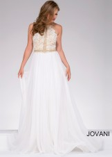Jovani 41591 Delicate Lace Halter Dress with Open Back