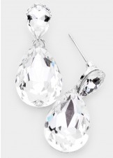 Clear Teardrop Crystal Drop Evening Earrings