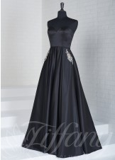 Tiffany Exclusive 46120 Strapless A-Line Satin Gown