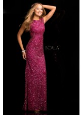 Scala 48467 Long Beaded Sequin Evening Dress
