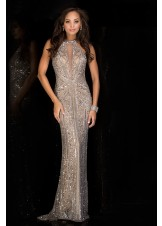 Scala 48696 Platinum Sequin Evening Gown