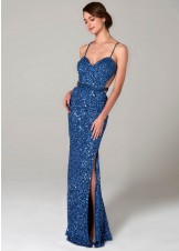 Scala 48931 Sequin Sweetheart Gown with Slit