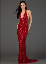 Scala 48959 Sequin Beaded Halter Gown