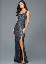 Scala 48961 Square Neck Sequin Gown