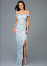 Scala 48985 Sequin Beaded Off the Shoulder Gown