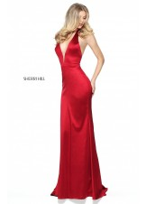 Sherri Hill 50919 Deep V-Neck Satin Halter Gown