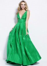 Jovani 54812 Emerald Green Plunge Neck Ball Gown