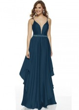 Alyce 60641 Long Plunge Neck Satin Chiffon Dress