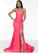 Alyce 60866 Barbie Pink Slinky Stretch Prom Dress
