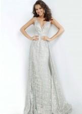Jovani 62515 Silver V-Neck Glitter Gown