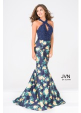 JVN by Jovani JVN47610 Floral Mermaid Gown with Lace Halter Top