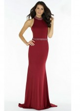 Alyce 8007 Jeweled High Collar Racerback Crepe Gown