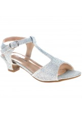 Girls' T-Strap Jeweled Sandal
