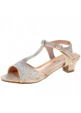 Jeweled Girls' T-Strap Evening Shoe