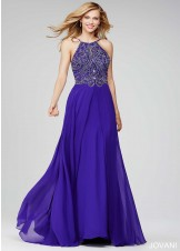 Jovani 92605 Regal Beaded Halter Chiffon Prom Dress