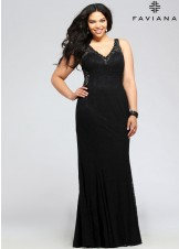 Faviana 9386 V-Neck Lace Plus Size Evening Dress