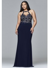 Faviana 9394 Stretch Jersey Long Plus Size Dress