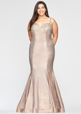 Faviana 9491 Copper Glitter Plus Size Mermaid Dress