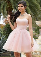 Mori Lee 9516 Satin & Tulle Strapless Party Dress