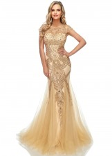Abby Paris by Lucci Lu 95166 Beaded Cap Sleeve Gown