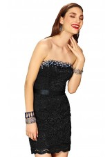Alyce 4398 Black Lace Strapless Cocktail Dress
