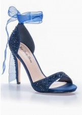 Your Party Shoes Carley Navy Jeweled Evening Sandals