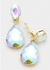 AB Crystal Gold Double Teardrop Clip On Earrings