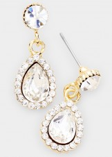 Teardrop Crystal Rhinestone Pave Evening Earrings