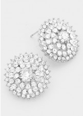 Clear Crystal Bloom Rhinestone Stud Earrings