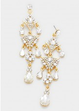 Crystal Rhinestone Triple Teardrop Chandelier Earrings