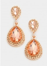 Peach Pave Trim Glass Crystal Teardrop Earrings