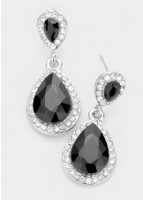 Jet Black Silver Double Crystal Teardrop Earrings
