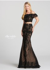 6457c7c3765 Ellie Wilde EW118156 Delicate Lace Two-Piece Gown