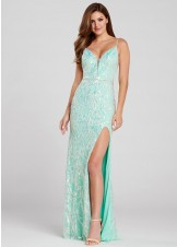 Ellie Wilde EW120143 Mint Sequin Gown