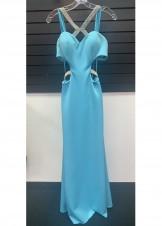 Faviana 7702 Tiffany Blue Neoprene Halter Gown