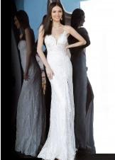 JVN by Jovani JVN00864 Ivory Lace High Slit Prom Dress